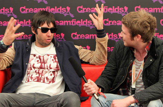 Example interview backstage at Creamfields 2011