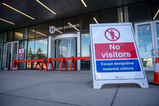 No visitors sign